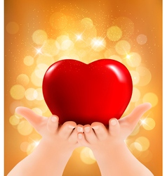 Valentines day background Hands holding red heart vector image