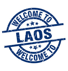 Welcome to laos blue stamp vector