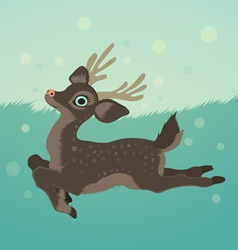 With deer in green field and snow vector
