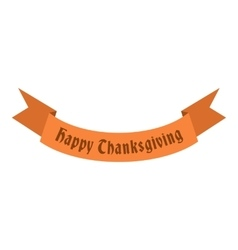 Ribbon happy thanksgiving icon flat style vector