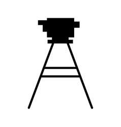 Black silhouette tripod for surveying vector
