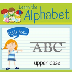 Flashcard alphabet u is for upper case vector