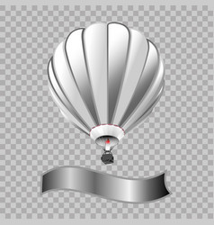 air balloon with basket isolated in transparent vector image