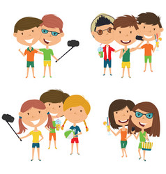Summer male and female characters make a selfie vector
