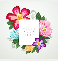 Beautiful flora with white paper card isolated vector