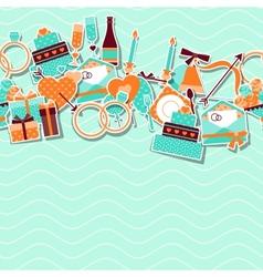 Wedding invitation card with stickers in retro vector image