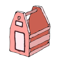 decorative pink wooden box with holes and handle vector image