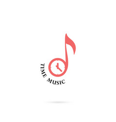 Musical note sign and clock icon logo design vector