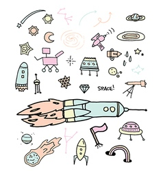 Outer space doodles vector