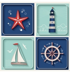 Marine theme icons vector
