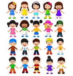 Happy children collection set vector