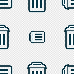 Trash icon sign seamless pattern with geometric vector