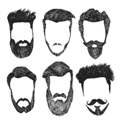 Set of hipster style haircut beard vector