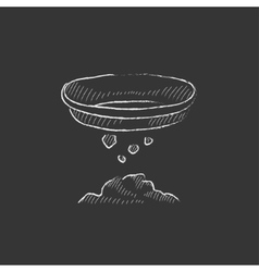 Bowl for sifting gold Drawn in chalk icon vector image