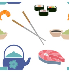Seamless pattern with sushi icons vector