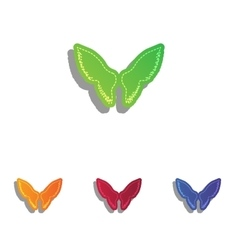 Wings sign  colorfull applique icons vector