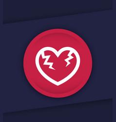 broken heart icon vector image vector image