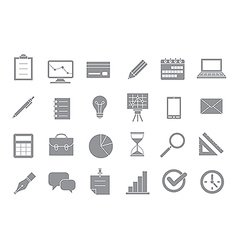 Business gray icons set vector