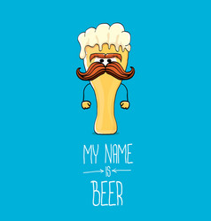 Cartoon funky beer glass character on blue vector