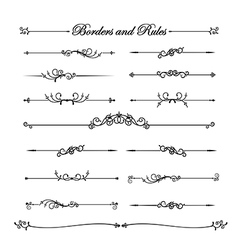 Collection of vintage and classic decorative line vector