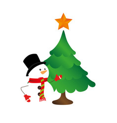 Color silhouette with snowman and christmas tree vector