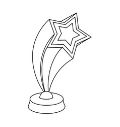 Cup in the shape of silver stars flying upward vector