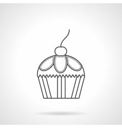 Cupcake dessert flat line design icon vector image