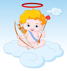 Cupid Sitting on the Cloud vector image vector image