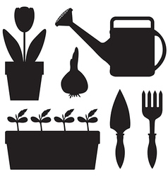 garden sil set vector image