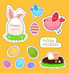 happy easter stickers vector image vector image