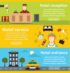 hotel service banner horizontal set flat style vector image
