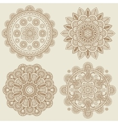 Indian doodle boho floral mehendi mandalas set vector