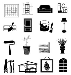 Interior design icons set vector image vector image