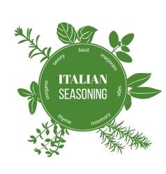 Italian seasoning flat silhouettes vector