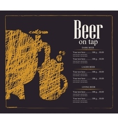 menu for a pub with a beer keg and a glass vector image vector image