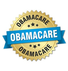 Obamacare 3d gold badge with blue ribbon vector