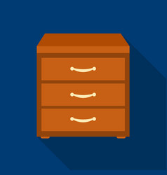 Office filing cabinet icon in flat style isolated vector