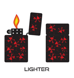 Set of lighters icon of lighter with fire vector