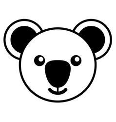 Simple line art of a cute koala vector