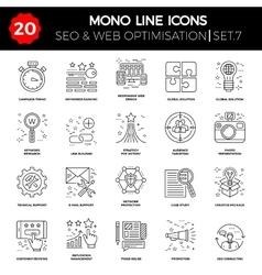 Thin line icons set of search engine optimization vector