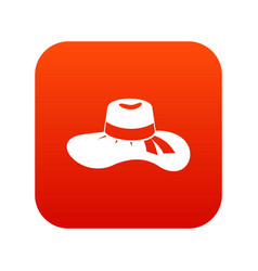 woman hat icon digital red vector image vector image