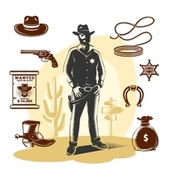 Brown sheriff icon set vector