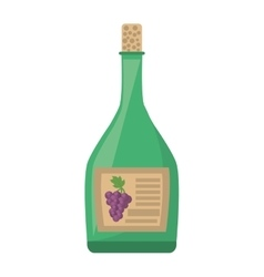 Green wine bottle cork harvesting grape label vector
