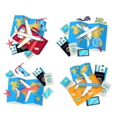 Collection of four travel sets for tourist vector