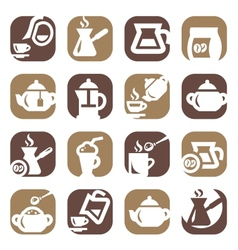 color coffee and tea icons set vector image