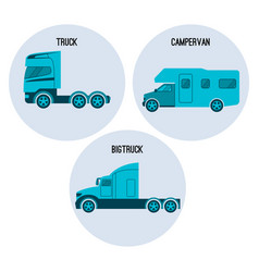 Truck or lorry motor vehicle campervan camper vector