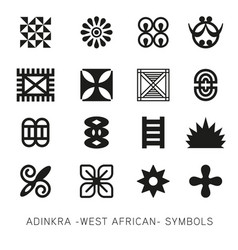 set of akan and adinkra -west african- symbols vec vector image