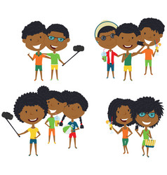 Summer african-american male and female vector