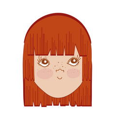 Pretty girl face with hairstyle and expression vector