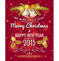 Red christmas card with decorative ornament vector